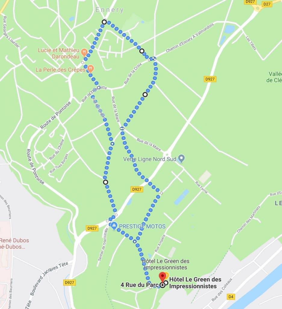 Carte présentant un parcours pédestre à Ennery