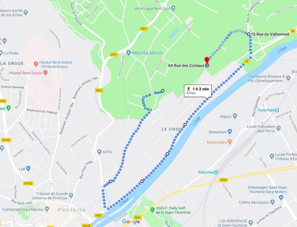 Carte indiquant un parcours pédestre à Ennery et Pontoise